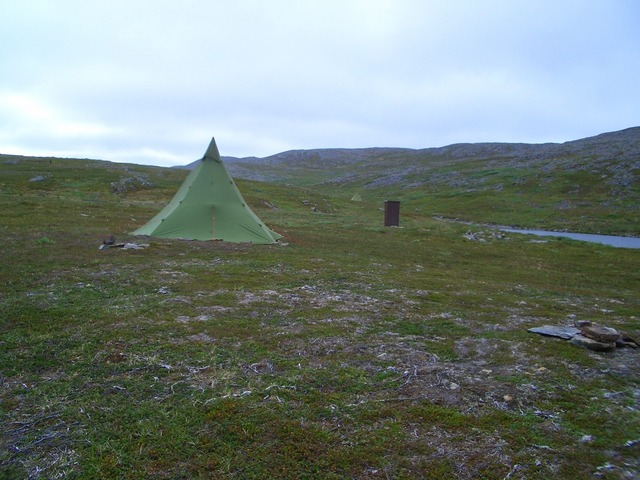 Fisherman's tent with an outdoor loo