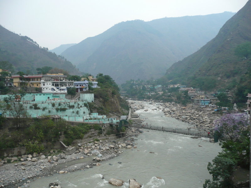 The town of Darchula on the Mahakali River.  India is on the left, Nepal on the right.