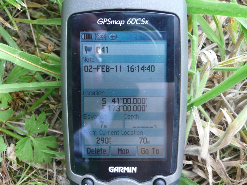 GPS showing 70 meters to confluence