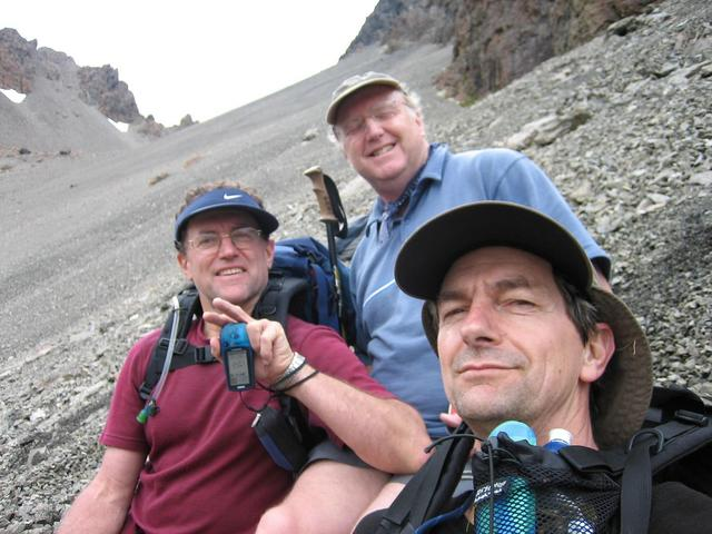 L-R. Joseph, Ian and Pete clinging with satisfaction to the scree.