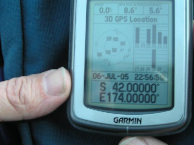 "GPS unit at confluence.  Note that my GPS is set for North America mountain time, 1 day earlier and 6 hours ""later.""  Local time is 4:56pm (16:56) on 7 July 2005."