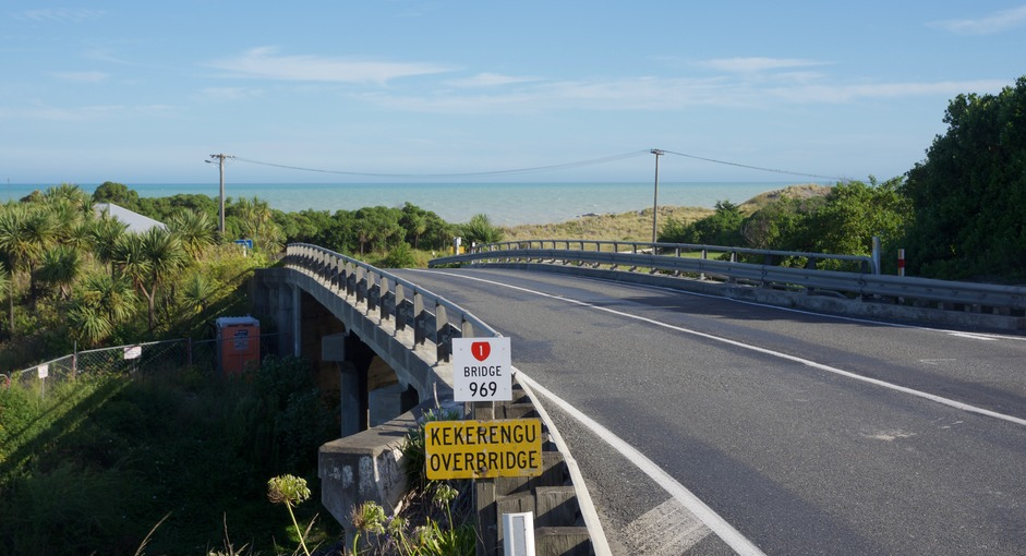 Looking south from the turnoff at Kekerengu Bridge, 1 km east of the point