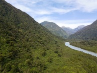 #8: View East (of the Hokitika River, flowing from its headlands in the Southern Alps) from 120m above the point