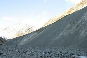 #1: Confluence is up the scree slope on the right