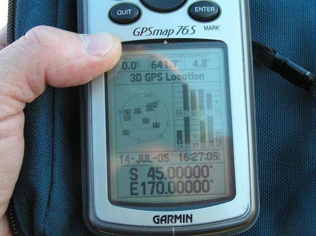GPS reading at the confluence site.  Note that my local GPS time is set to North America, one day earlier.