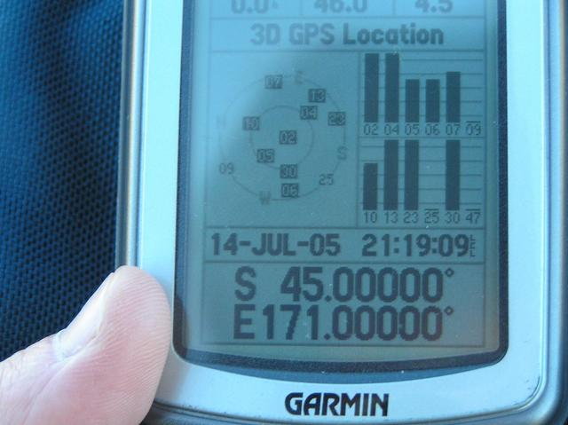 GPS reading at confluence; note that the local time is set for North America, one day earlier.