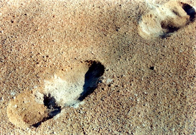 Footprints show something of the surface's cement powder consistency