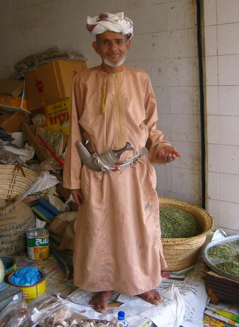 Garlic and herbs seller with Khanjar