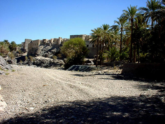 Wādiy Mahram, with old houses on a cliff and date palms.