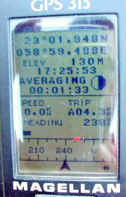 The GPS with longitude and latitude.