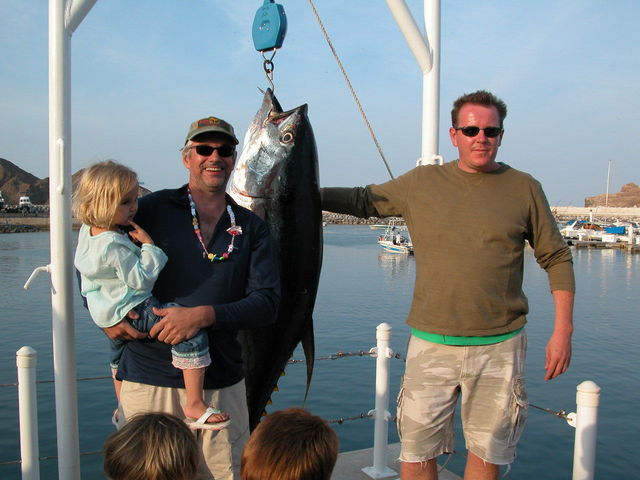 Tom and Andrew with 77 kg tuna caught near the Confluence