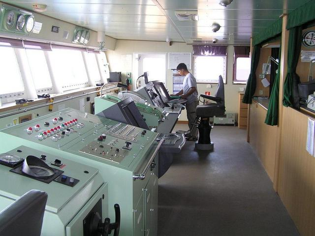 "The navigating bridge of the ""UBC Singapore"""