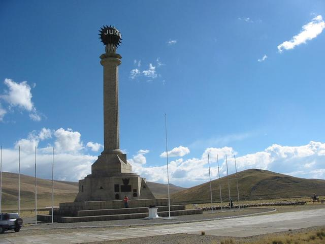 Nearby monument to the battle of Junin