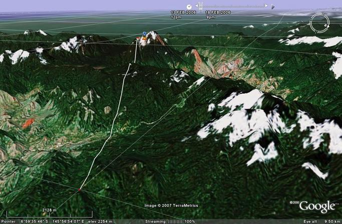 Google Earth view of Mt Yealia and DCP