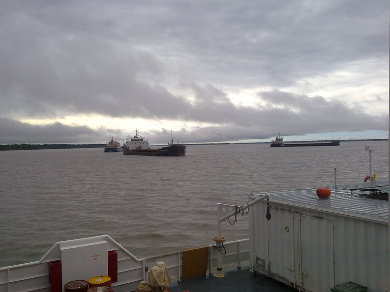 Copper concentrate ships waiting for high tide