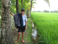 #6: Santah near the confluence spot. Note lack of mud on her feet attesting that the rice paddies is not so deep