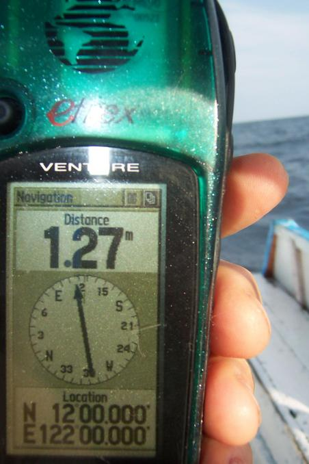 Very lucky to get GPS perfect reading at sea.
