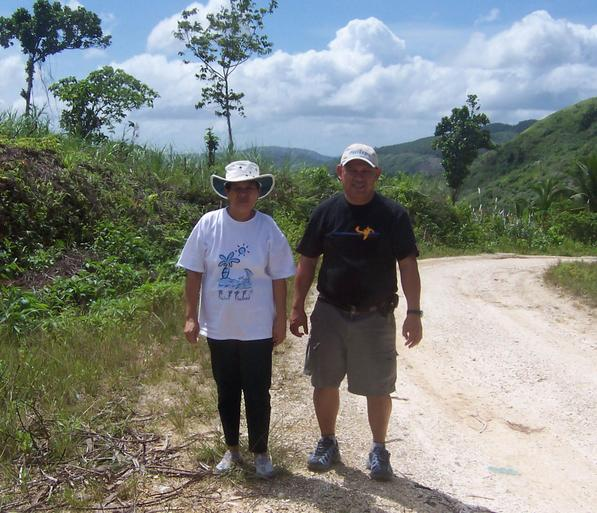 Santah Fuentes and Rudy Fuentes along the limestone road to Hinicaan