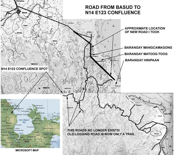 Topo Map from Basud to Hinipaan. See roads that no longer exist