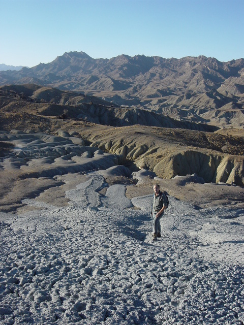 George Carman on Tor Dheo Gundai mud volcano with GZ in background