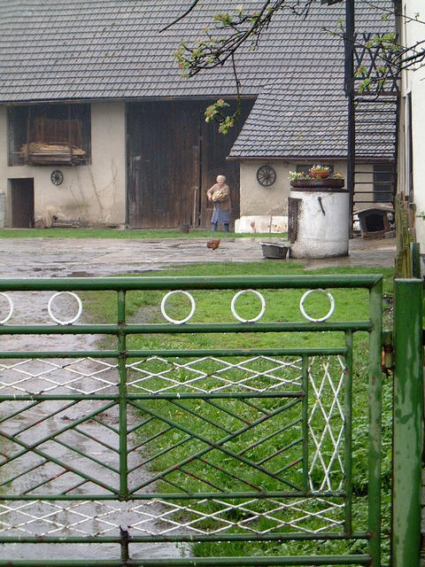 The confluence of N50 E019 is just behind the barn door (i.e. behind grandma in the picture) at number 99 Zlote Lany, in the village of Jankowice, Poland.