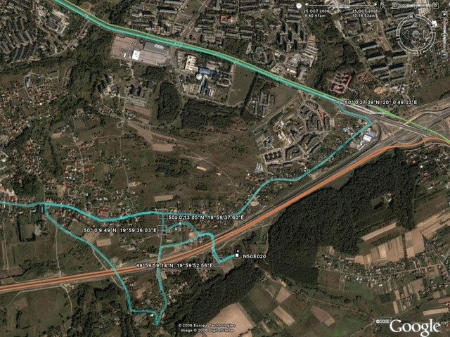 Track log shown in GoogleEarth. Notice the detour caused by road works!