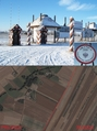 #7: Reconstructed Prussia - Russia border crossing in Borzykowo and the satellite image of nearby fields