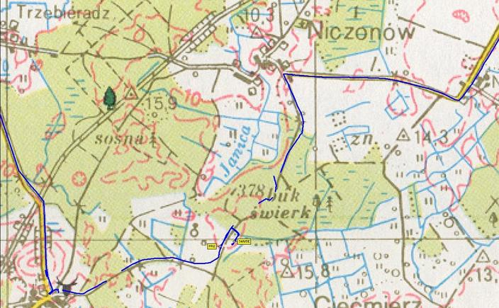 Detailed track on the map (© PPWK 1997)