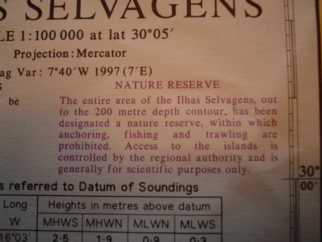 Note on nautical chart regarding nature reserve