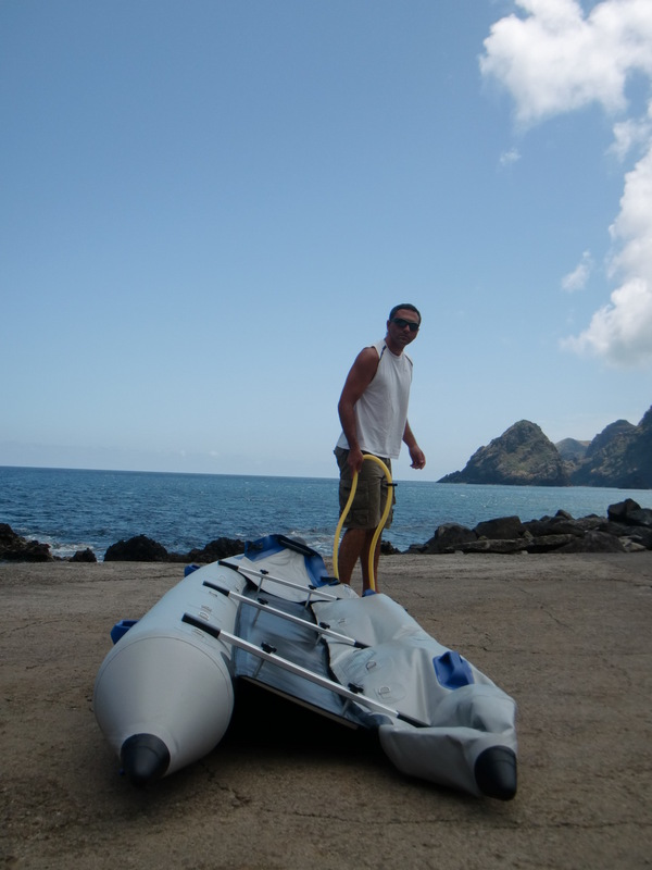Inflating the kayak
