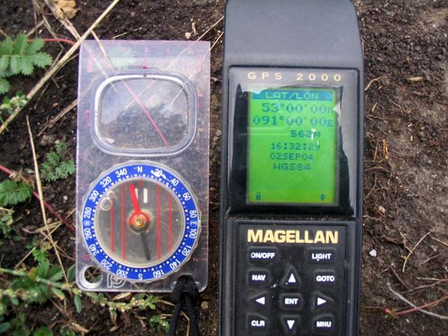 The GPS with the point displayed