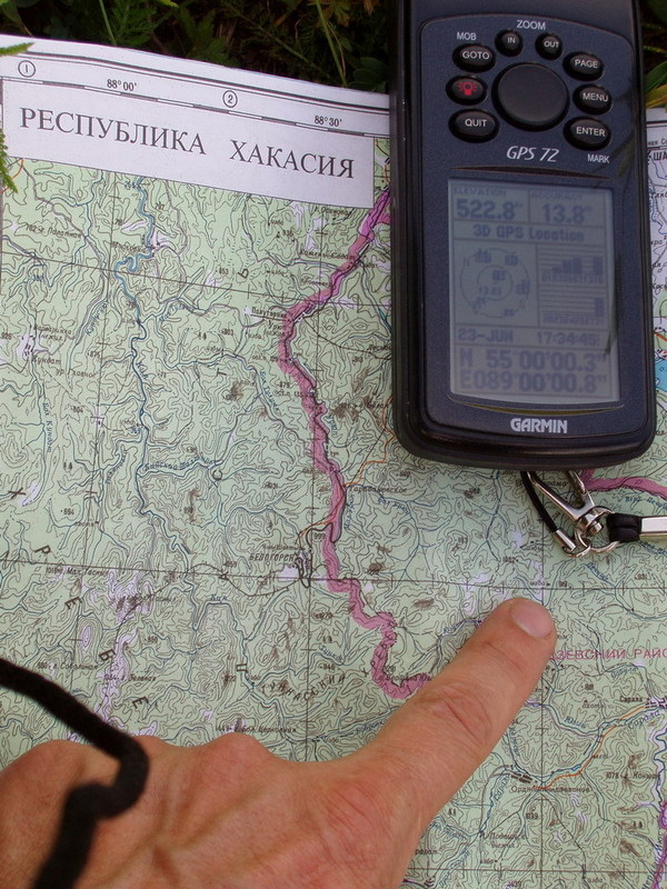 GPS reading and the map