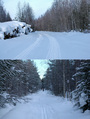 #8: (Up) the road from Bereozovka, (Down) start skiing/Сверху – дорога от Березовки, внизу – начало пути