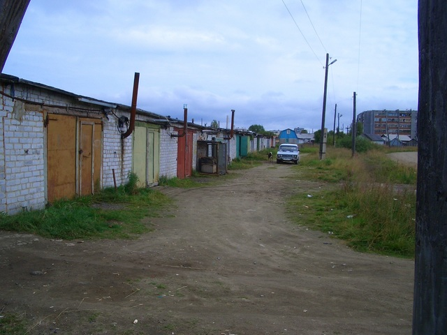 Garages at the outskirts of town