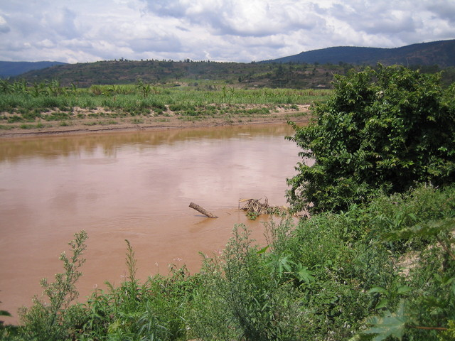 General view - the Confluence is close to the submerged stick