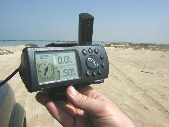 The GPS showing 1.5 km into the lagoon