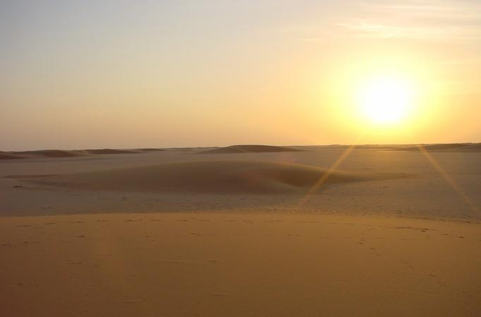 Sunset over the al-Biyād dunes