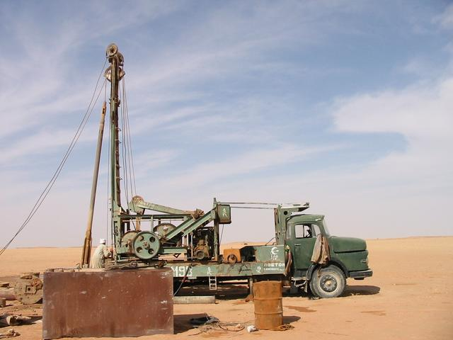 A new borehole being drilled and lined, ready to supply a new field.