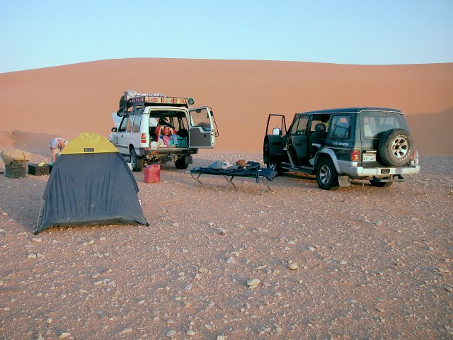 Our campsite in the red Dahnā' dunes.