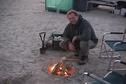 #6: 23N 52E, Marc starting up the campfire.
