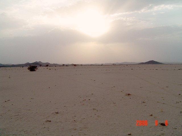 West view, al-Aswada mountains shown