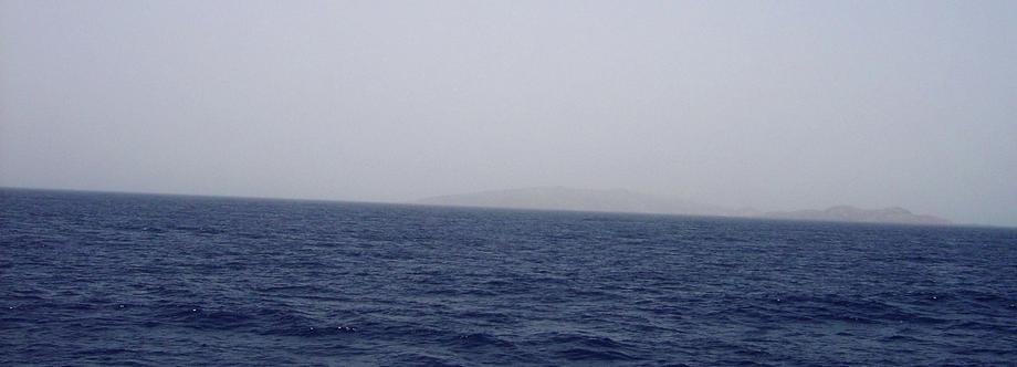 View looking ESE with Libāna Island (foreground right) and more distant Hasāniyy Island (max. elev 150 m) to the left of Libāna.