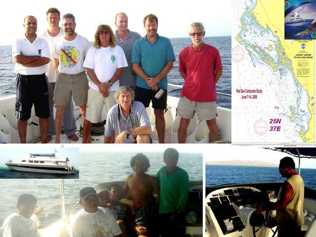 Scientific party, captain & crew, ship, and chart of Confluence and 7-day reef study area