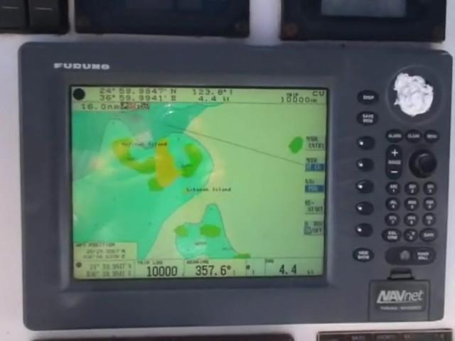 Snap from video of shipboard Funaro GPS at Confluence 24°59.9947'N 36°59.9941'E (upper left corner of display)