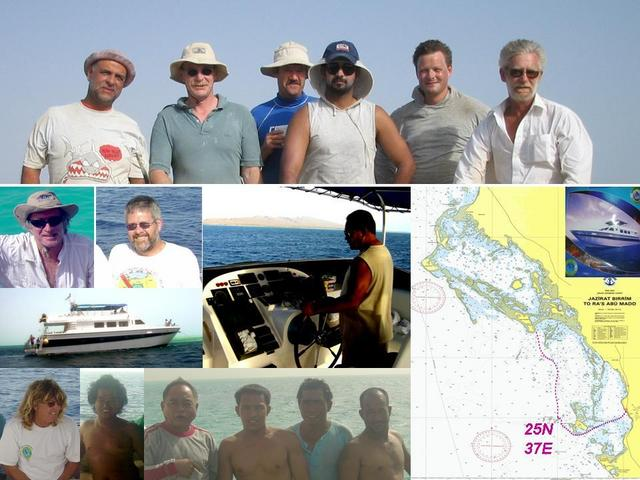 Scientific party, captain & crew, ship, and chart of the Confluence and reef study area.