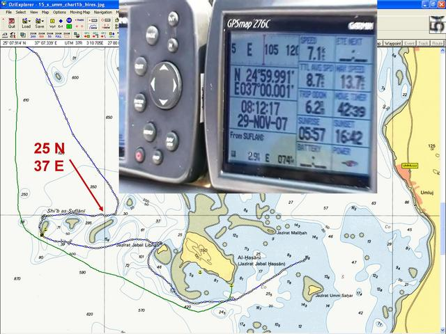 Snap from video of Garmin GPSmap 276C at Confluence: 24°59.991'N 37°00.001'E; Background shows a detailed portion of a Red Sea nautical chart and overlain ship's tracks from OziExplorer.