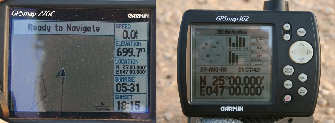 GPS displays, altitude 600 odd metres
