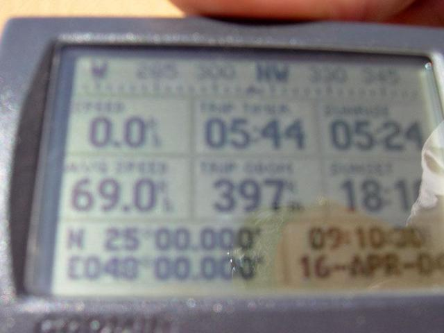 The GPS showing the zero minutes, zero seconds
