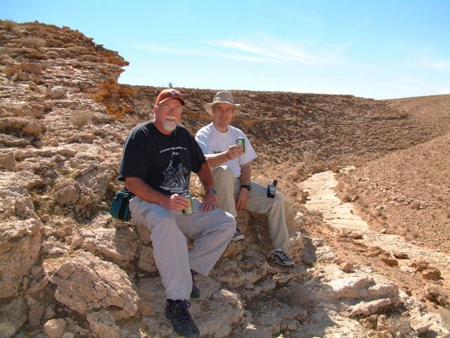Bob and I at the confluence point, south behind us, east and west views are just canyon walls.