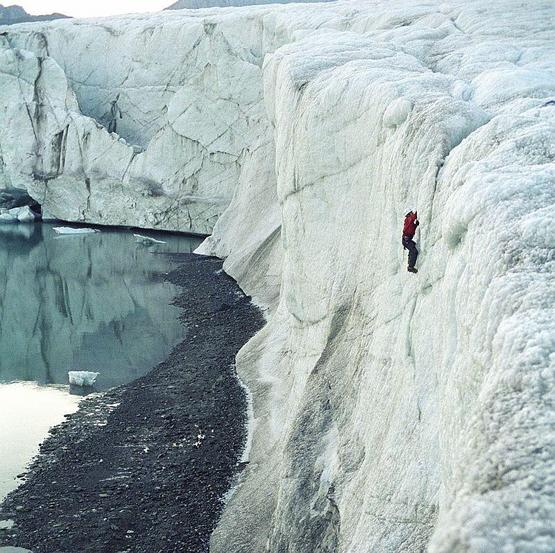 Ice climbing under the midnight sun nearby the confluence